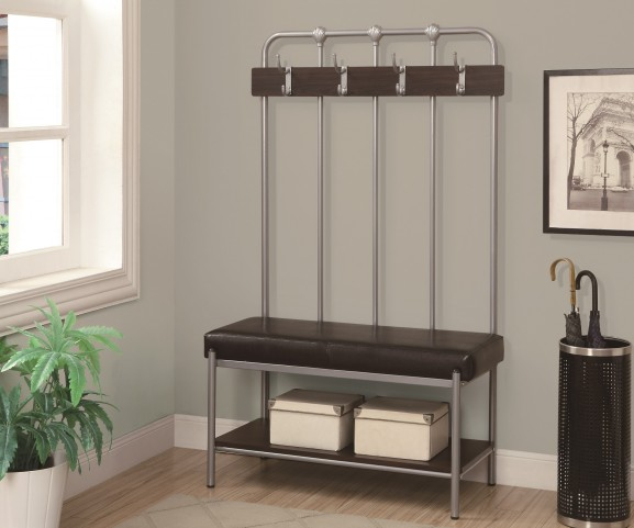 4546 Silver Metal Hall Entry Bench