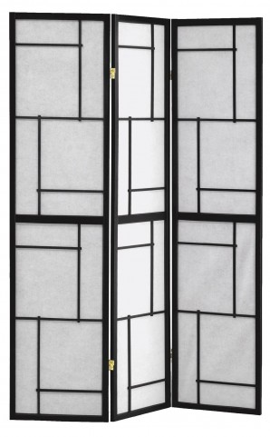 4627 Black Wood Framed 3 Panel Screen