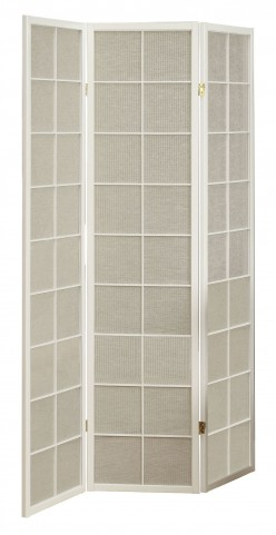 4633 White Framed 3 Panel Folding Screen