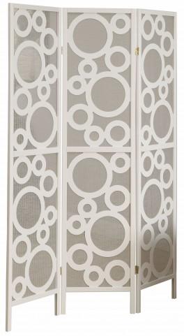 4635 White Frame 3 Panel Folding Screen
