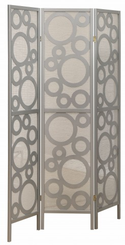 4636 Silver Frame 3 Panel Folding Screen