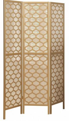 4638 Gold Frame 3 Panel Folding Screen