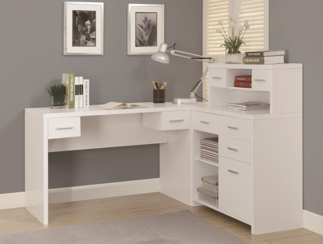 7028 White L Shaped Home Office Desk