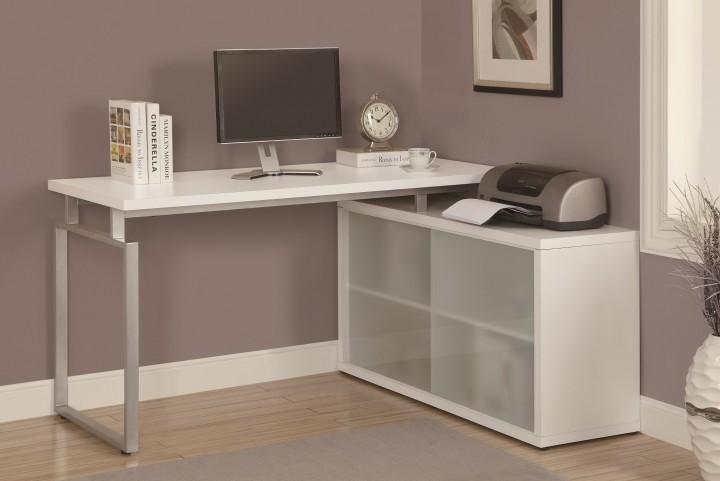 7036 White Shaped Desk