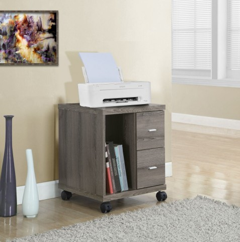 Dark Taupe Reclaimed-Look 2 Drawer Castor Computer Stand