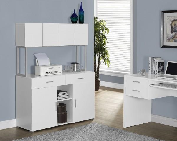 White Hollow-Core Office Storage Credenza