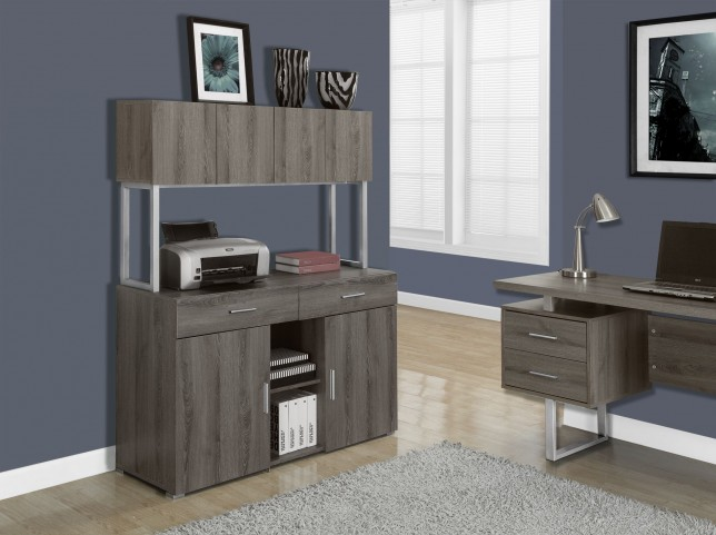 Dark Taupe Reclaimed-Look Office Storage Credenza