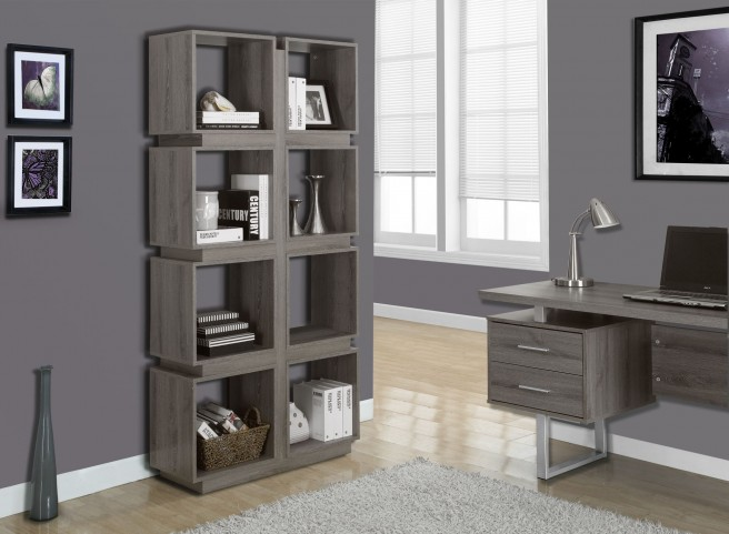 "Dark Taupe Reclaimed-Look 71"" Bookcase"