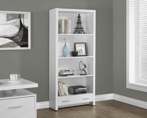 "White Hollow-Core 1 Drawer 71"" Bookcase"