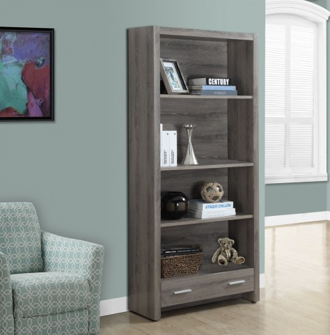 "Dark Taupe Reclaimed-Look 1 Drawer 71"" Bookcase"
