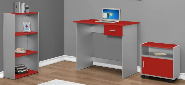 Red and Silver 3 piece Home Office Set
