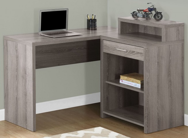 Dark Taupe Corner Storage Computer Desk