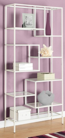 "7159 White Tempered Glass 72"" Bookcase"