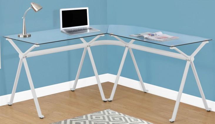 White Tempered Glass Computer Desk