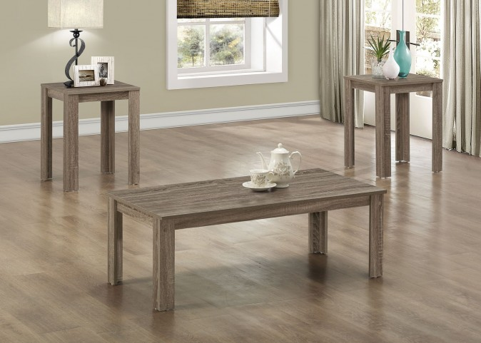 3 Piece Dark Taupe Reclaimed-Look Table Set