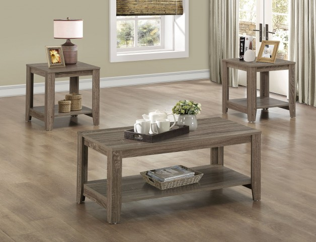3 Piece Dark Taupe Reclaimed Table Set