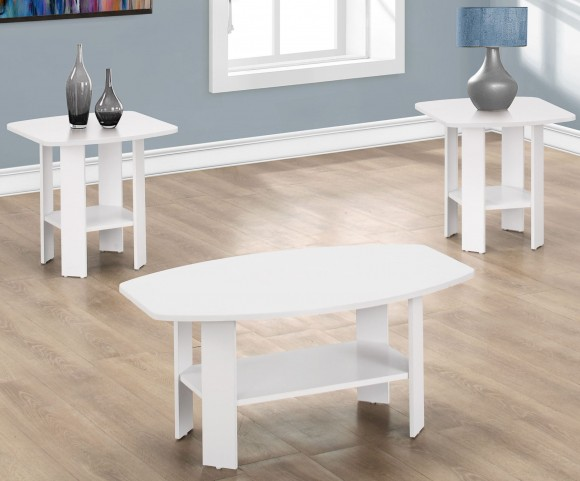 White 3 Piece Storage Occasional Table Set