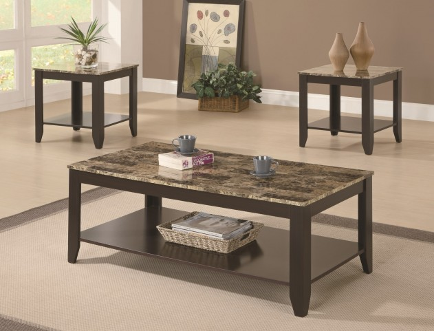 7984P Cappuccino / Marble Look Top 3Pcs Table Set