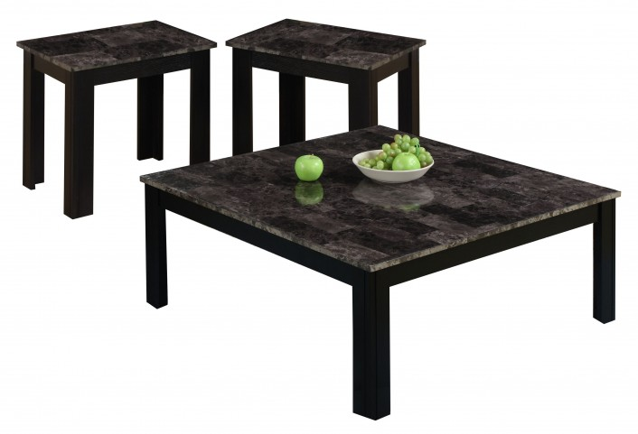 7988P Black and Grey 3 Piece Square Table Set