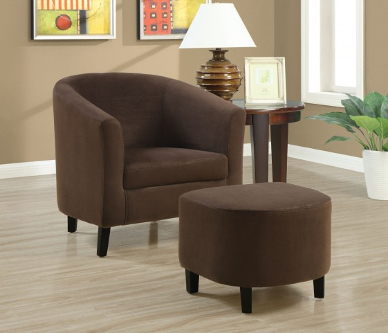 8056 Chocolate Brown Padded Microfibre Chair and Ottoman