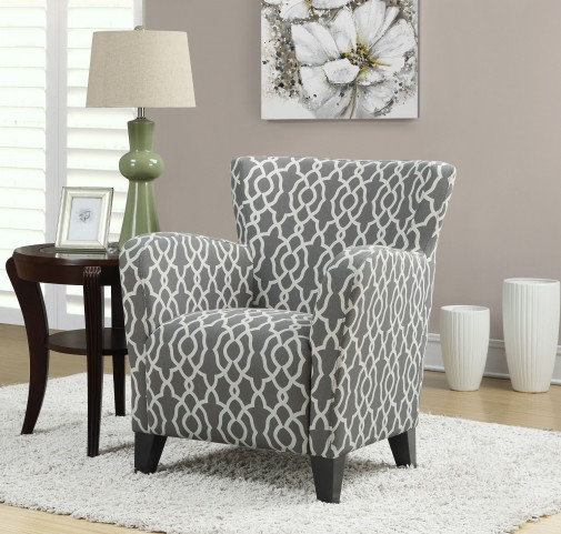 Brown Bell Pattern Fabric Club Chair