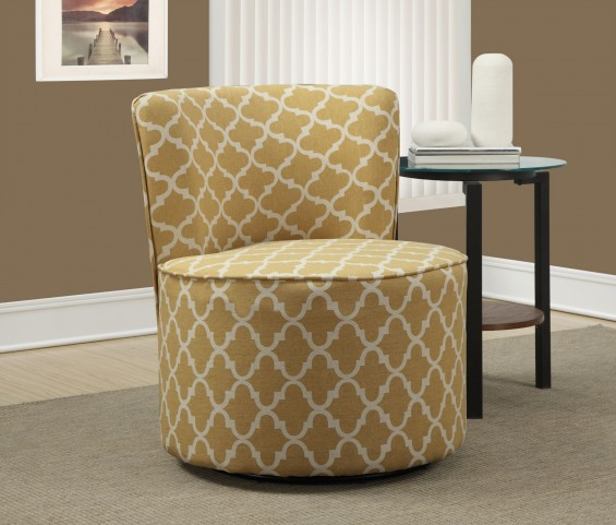 Gold Lantern Fabric Accent Swivel Chair