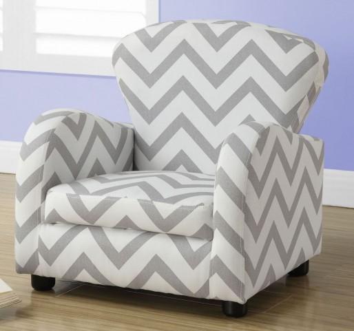 Gray Chevron Fabric Juvenile Chair