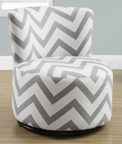 Gray Chevron Fabric Juvenile Swivel Chair