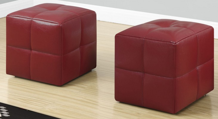Red Leather Juvenile Ottoman Set of 2