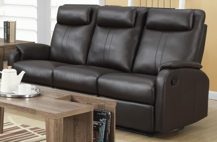 81BR-3 Brown Bonded Leather Reclining Sofa