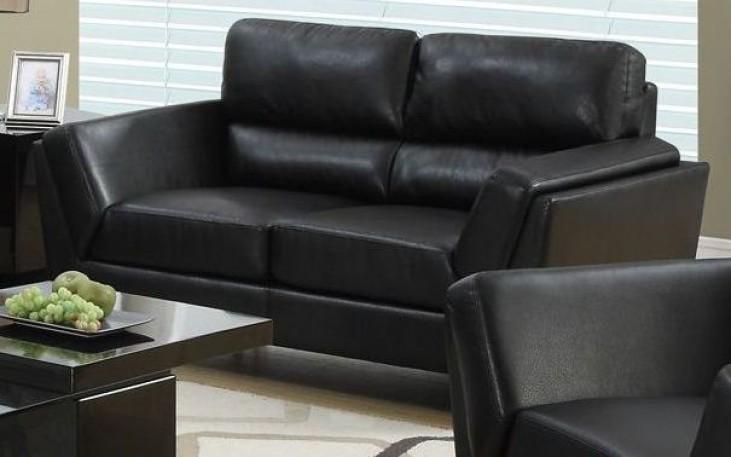 Black Bonded Leather Match Loveseat