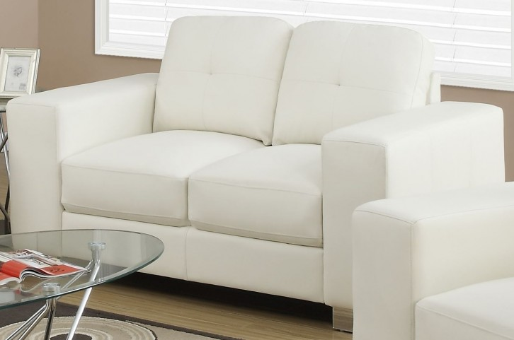Ivory Bonded Leather  Upholstery Loveseat