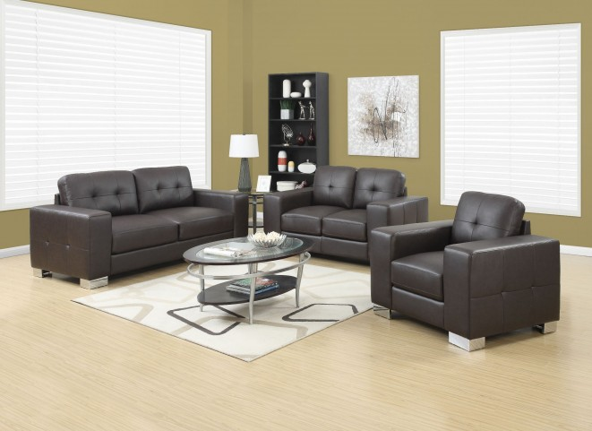 Dark Brown Bonded Leather Sofa from Monarch | Coleman Furniture
