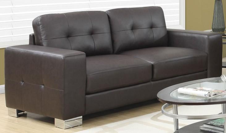 Dark Brown Bonded Leather Sofa