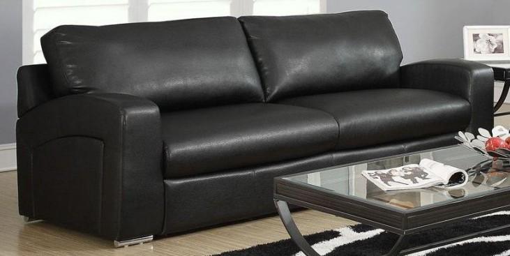 Black Bonded Leather Match Sloped Back Sofa
