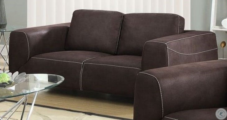 Magnificent Chocolate Brown And Tan Contrast Microsuede Loveseat Andrewgaddart Wooden Chair Designs For Living Room Andrewgaddartcom