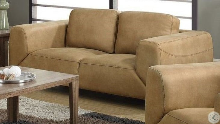 Surprising Tan And Chocolate Brown Contrast Microsuede Loveseat Andrewgaddart Wooden Chair Designs For Living Room Andrewgaddartcom