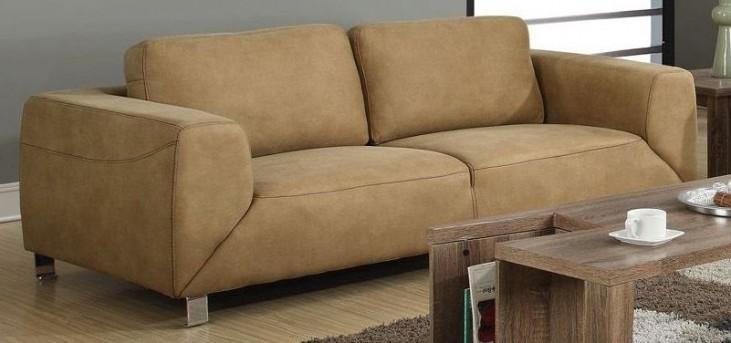 Tan/Chocolate Brown Contrast Micro-Suede Sofa