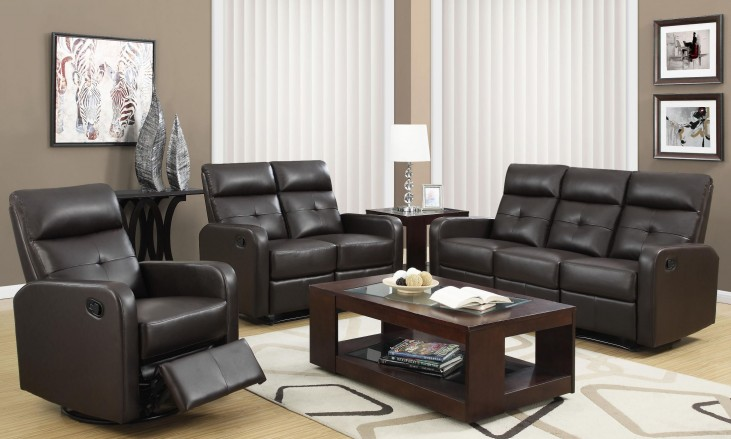 85BR-3 Brown Bonded Leather Reclining Living Room Set