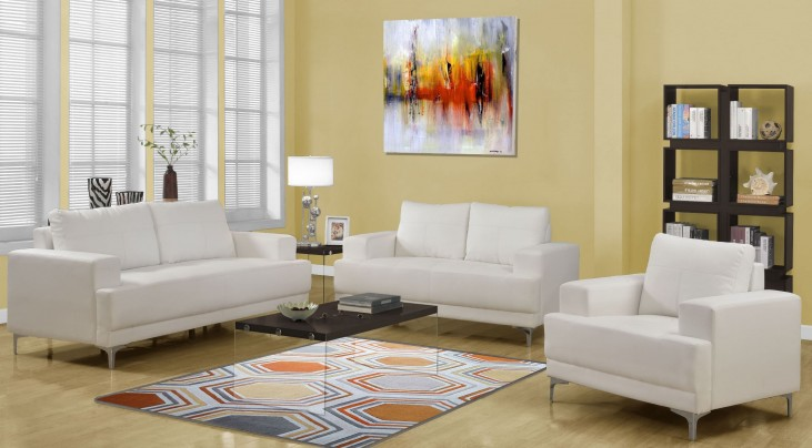 8603IV Ivory Bonded Leather Living Room Set