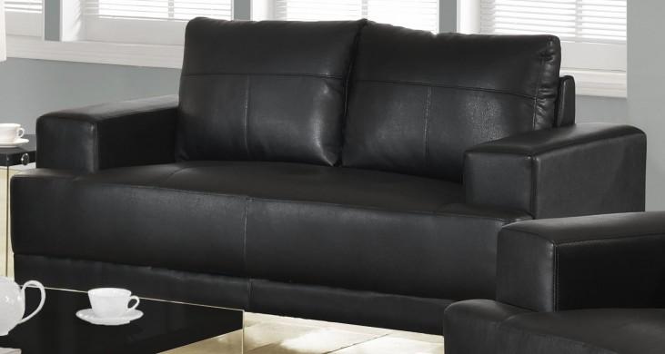 8602BK Black Bonded Leather Loveseat