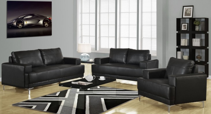 8603BK Black Bonded Leather Living Room Set
