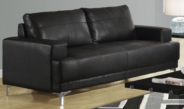 8603BK Black Bonded Leather Sofa