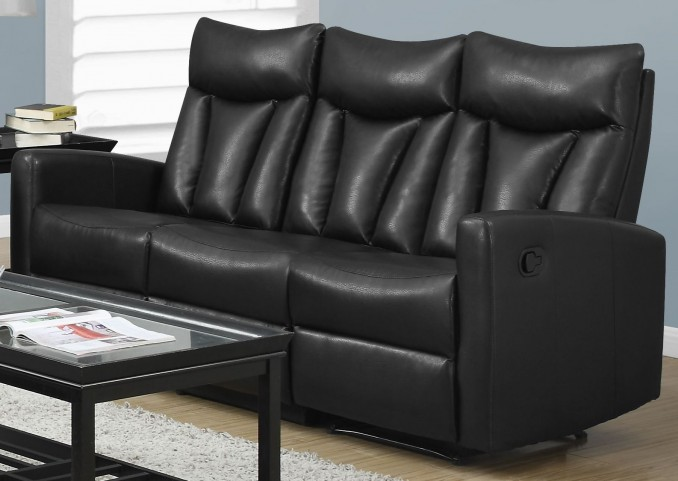 87BK-3 Black Bonded Leather Reclining Sofa