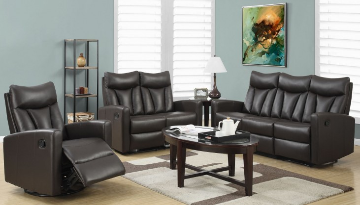 87BR-3 Brown Bonded Leather Reclining Living Room Set
