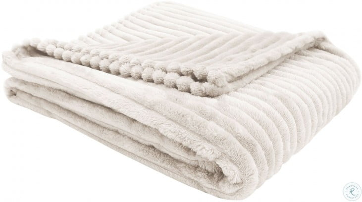 Ivory Ultra Soft Ribbed Throw