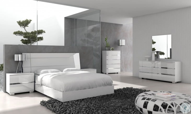 Vivente White High Gloss Icon Platform Bedroom Set