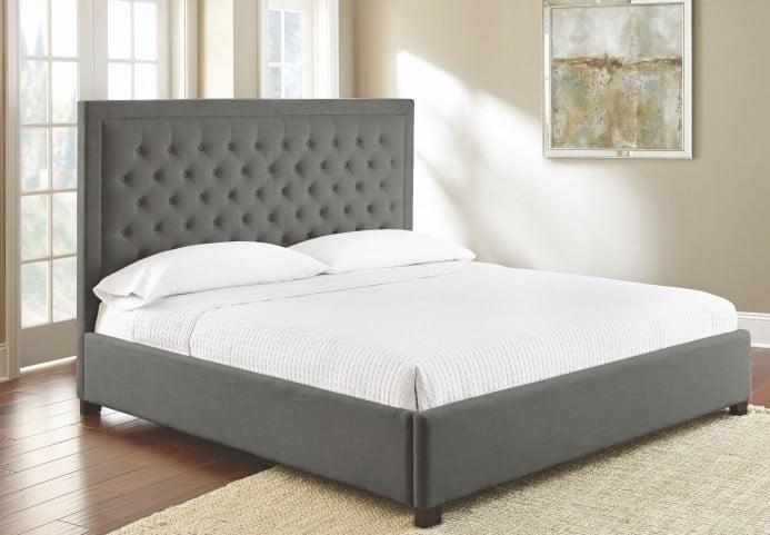 Isadora Gray Queen Upholstered Panel Bed
