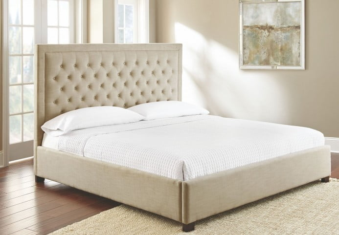 Isadora Sand Queen Upholstered Panel Bed