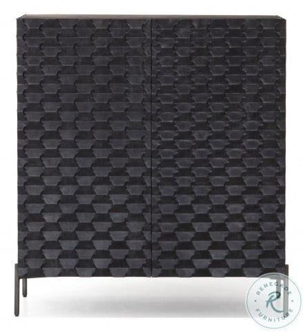 Fallon Carved Black Wash Raffael Bar Cabinet